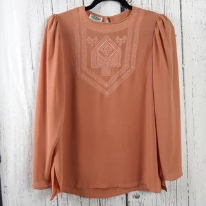Campus Casuals Vintage Coral Sheer Blouse Small